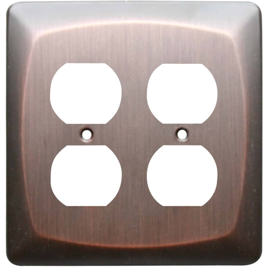 allen + roth Baker 2-Gang Dark Oil-Rubbed bronze Double Round Wall Plate