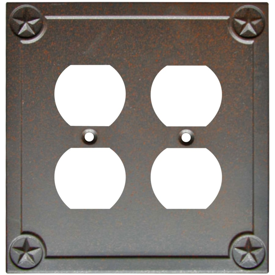 Style Selections Texas Star 2-Gang Rust Double Round Wall Plate