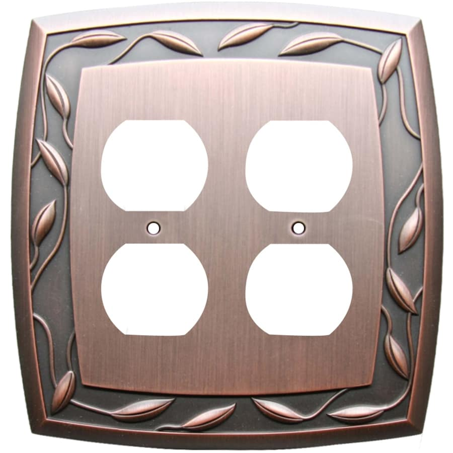 allen + roth Eastview 2-Gang Dark Oil-Rubbed bronze Double Round Wall Plate