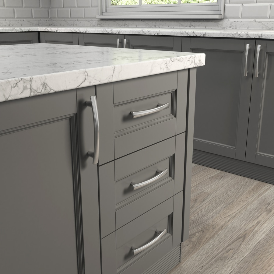 shop cabinet pulls at lowes com style selections 128mm center to center satin nickel bar cabinet pull