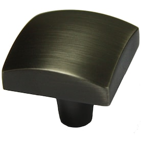 allen + roth 1.25-in Black Satin Square Modern Cabinet Knob