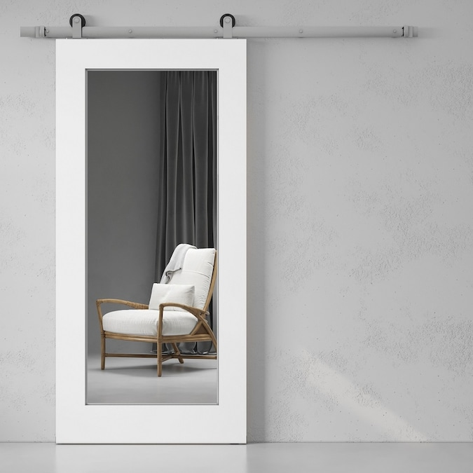 Urban Woodcraft 40 In X 83 In Painted White Prefinished Mirror Panel Mirror Pine Barn Door Hardware Included In The Barn Doors Department At Lowes Com