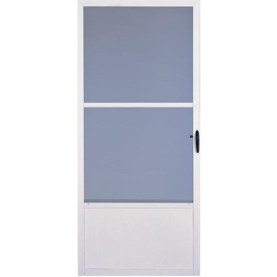 Comfort-Bilt Fremont White Mid-View Tempered Glass Fully Fixed Aluminum Storm Door (Common: 32-in x 81-in; Actual: 31.875-in x 80-in)