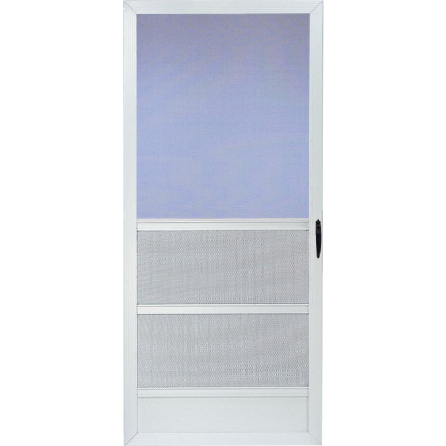 Aluminum Screen Doors : Shop comfort bilt palm beach white aluminum hinged screen