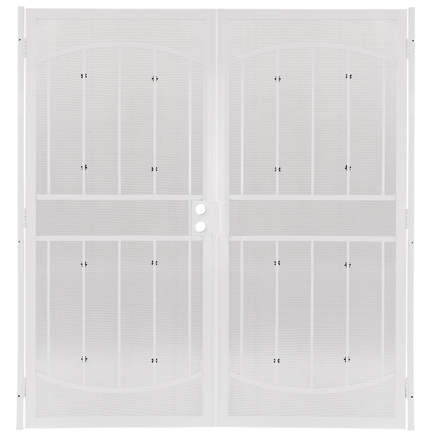 Shop gatehouse gibraltar white steel surface mount double for Double door screen door