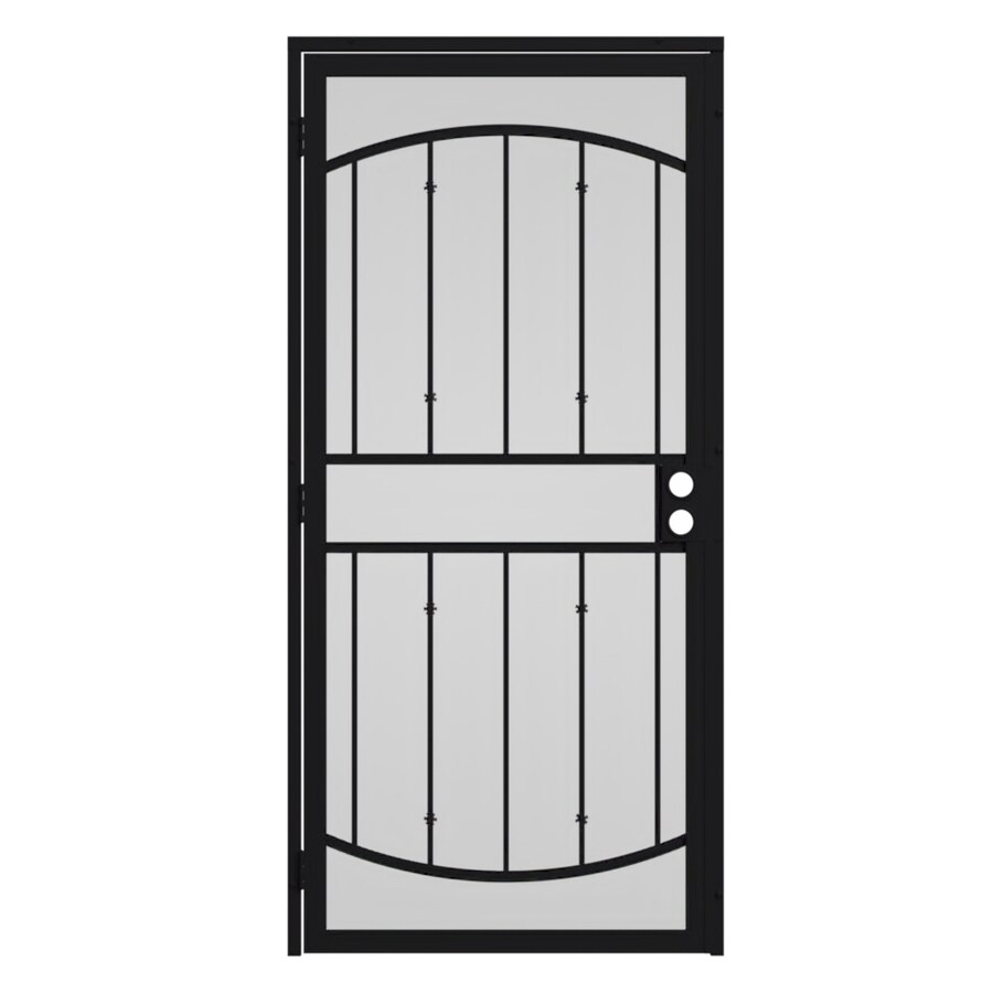Gatehouse Gibraltar Black Steel Surface Mount Single Security Door (Common: 32-in x 81-in; Actual: 35-in x 81.75-in)