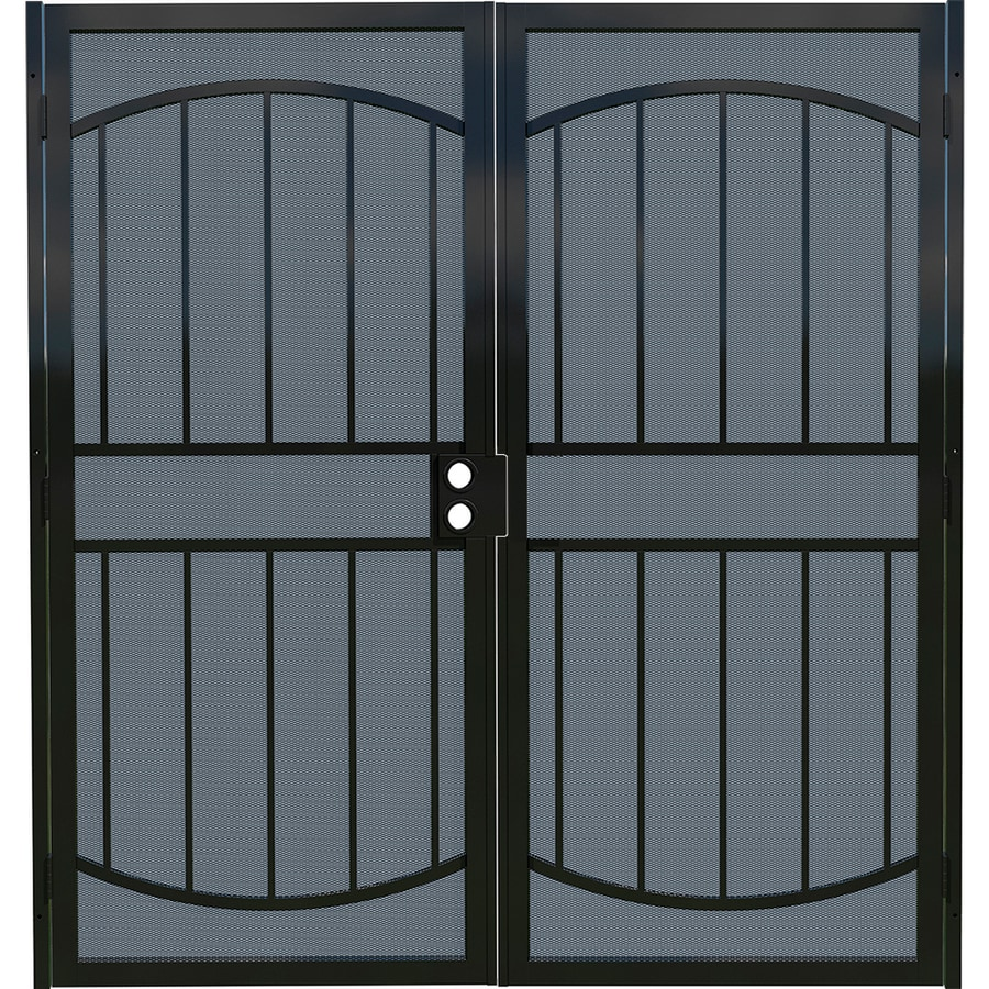 Gatehouse Gibraltar Black Steel Surface Mount Double Security Door (Common: 64-in x 81-in; Actual: 67-in x 81.75-in)
