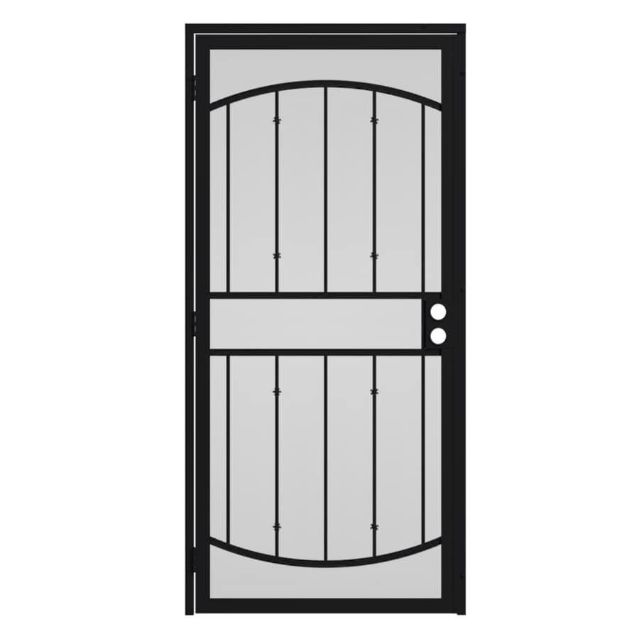 Shop gatehouse gibraltar black steel surface mount single for Metal security doors