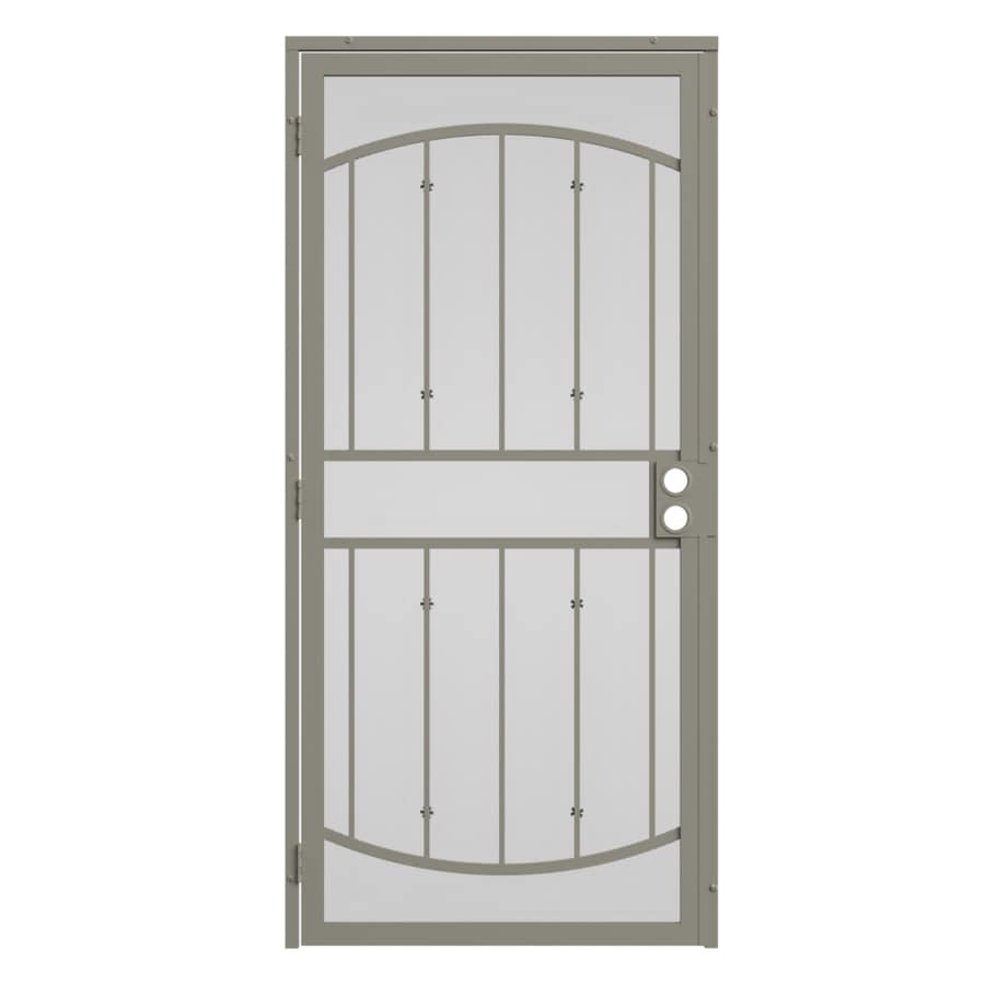 Steel Security Doors : Shop gatehouse gibraltar almond steel surface mount single