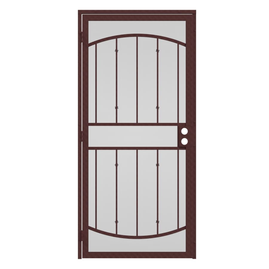 Shop gatehouse gibraltar bronze steel surface mount single for Metal security doors