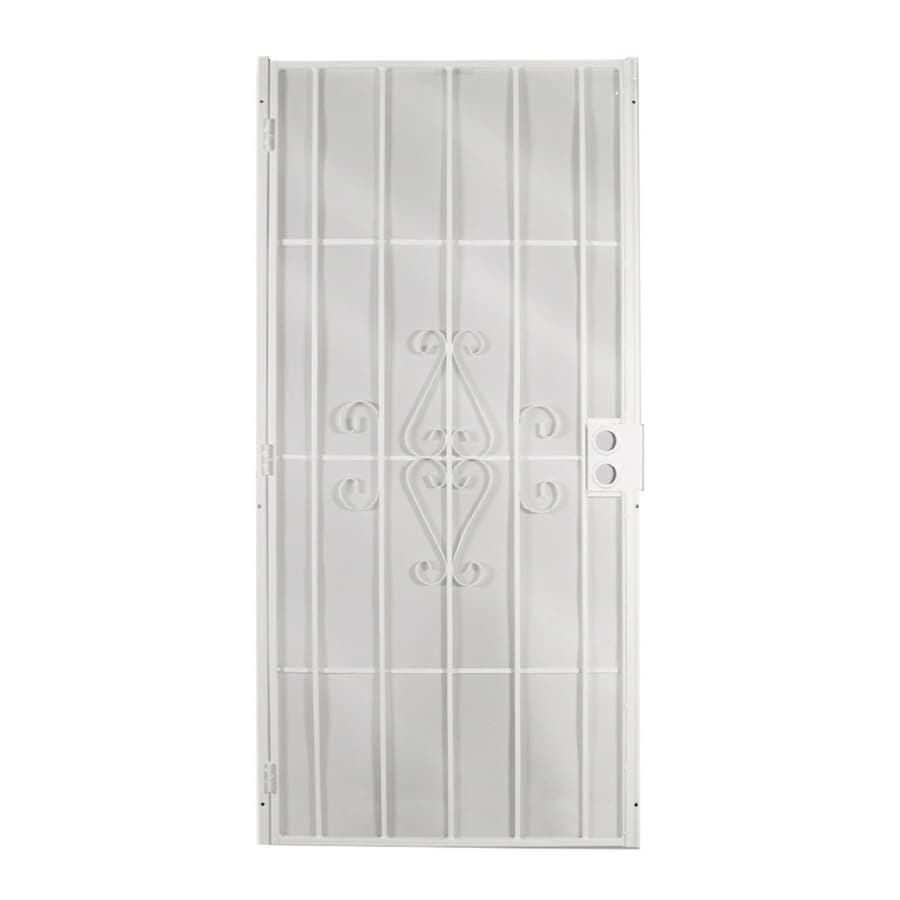 Shop gatehouse magnum white steel surface mount single for Metal security doors