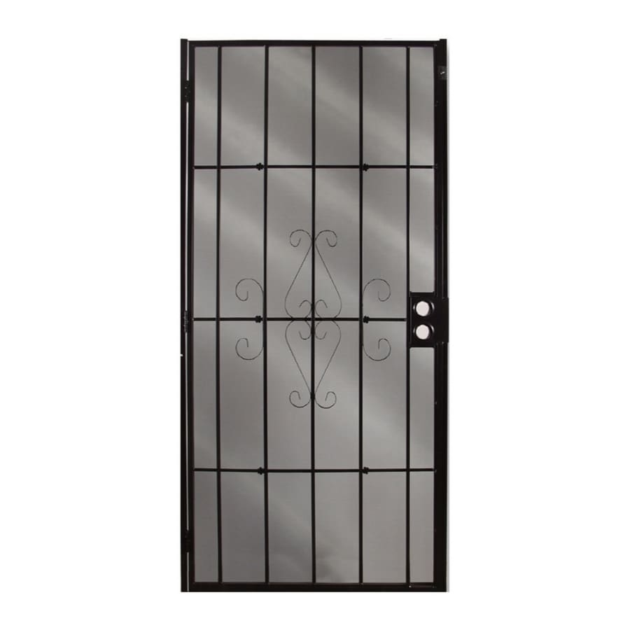 Shop gatehouse magnum black steel surface mount single for Metal security doors