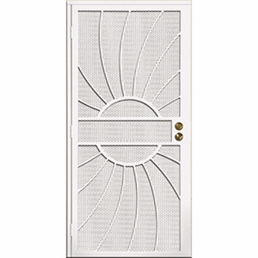 Gatehouse Sunburst White Steel Surface Mount Single Security Door (Common: 32-in x 81-in; Actual: 35-in x 81.75-in)