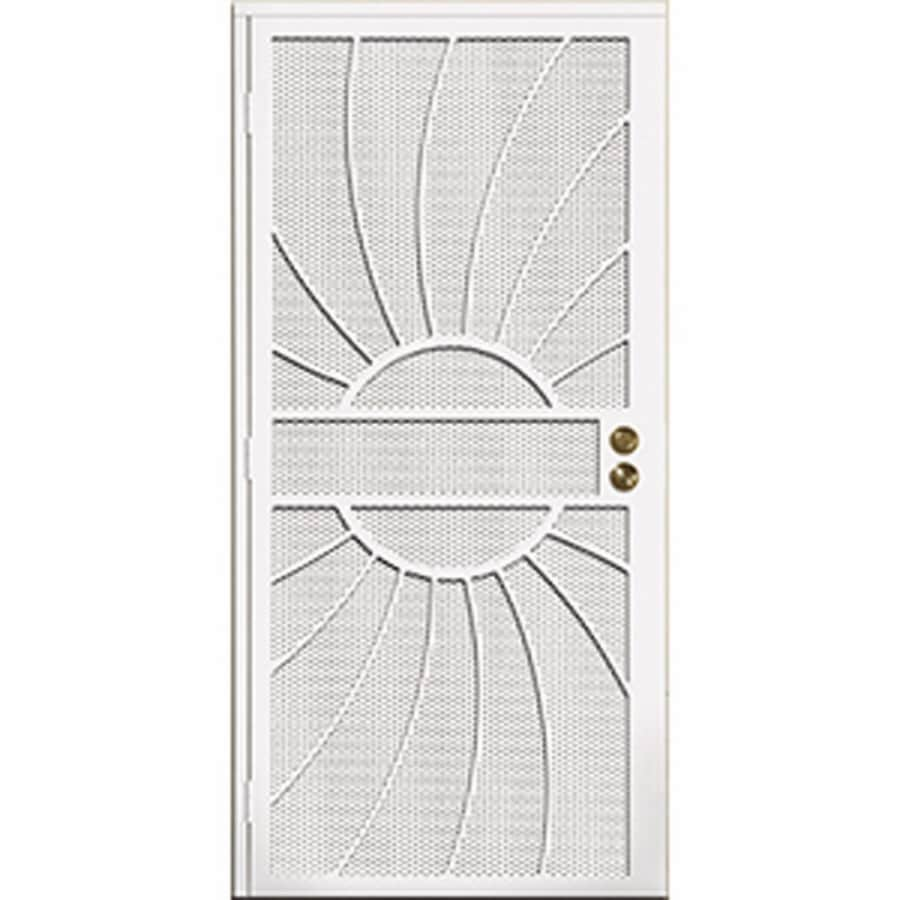 Gatehouse Sunburst White Steel Surface Mount Single Security Door (Common: 36-in x 81-in; Actual: 39-in x 81.75-in)