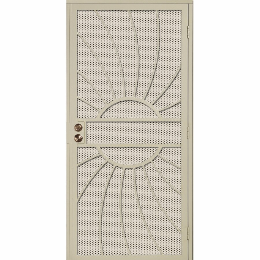 Lowe S Security Storm Doors : Shop gatehouse sunburst almond steel surface mount single