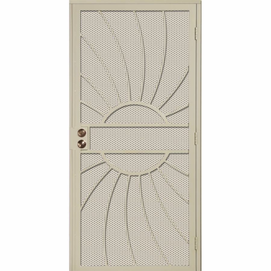 Gatehouse Sunburst Almond Steel Surface Mount Single Security Door (Common: 36-in x 81-in; Actual: 39-in x 81.75-in)