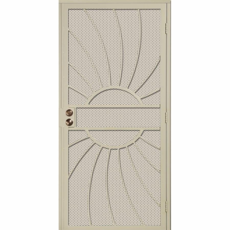Gatehouse Sunburst Almond Steel Security Door (Common: 36-in x 81-in; Actual: 39-in x 81.75-in)