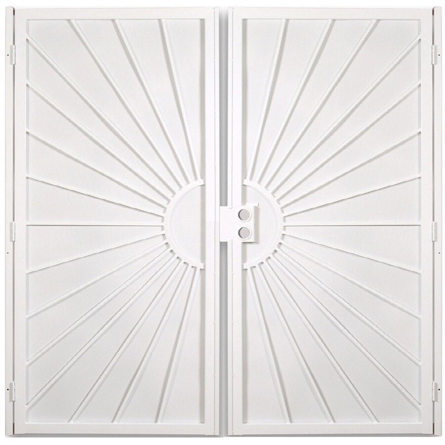 Gatehouse Sunset White Steel Surface Mount Double Security Door (Common: 64-in x 81-in; Actual: 67-in x 81.75-in)