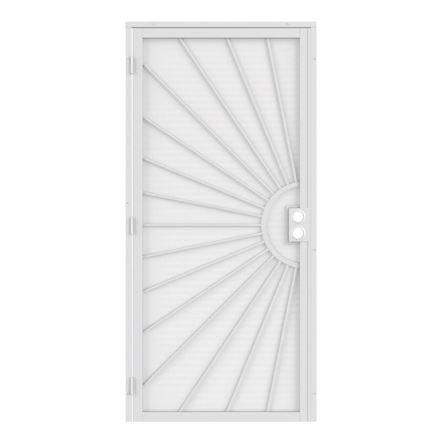 Shop gatehouse sunset white steel surface mount single for Metal security doors