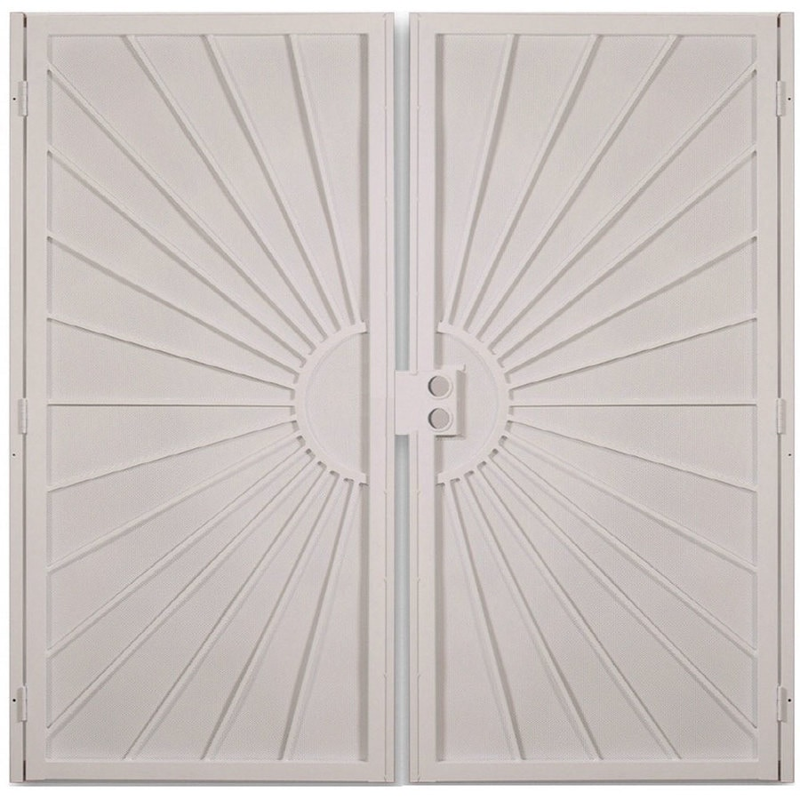 Gatehouse Sunset Almond Steel Surface Mount Double Security Door (Common: 72-in x 81-in; Actual: 75-in x 81.75-in)