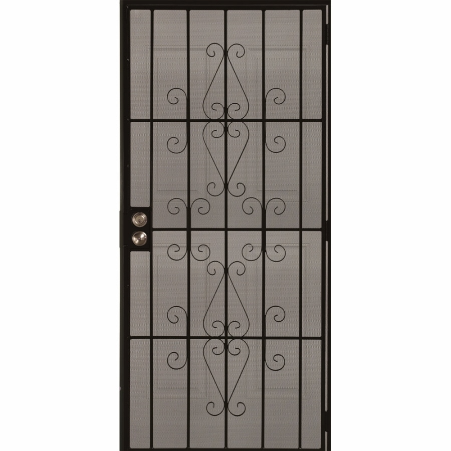 Shop gatehouse achilles black steel surface mount single for Metal security doors