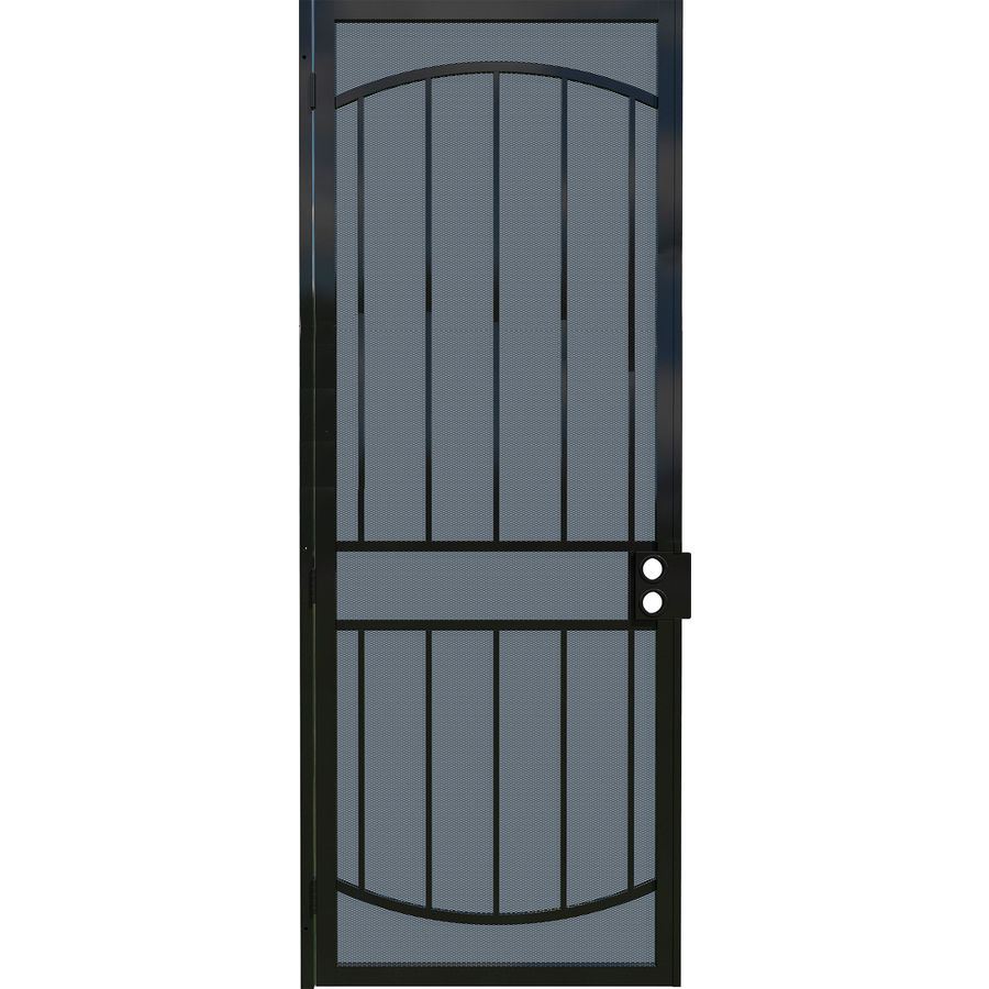 Gatehouse Gibraltar Black Steel Surface Mount Single Security Door (Common: 36-in x 96-in; Actual: 39-in x 97.75-in)