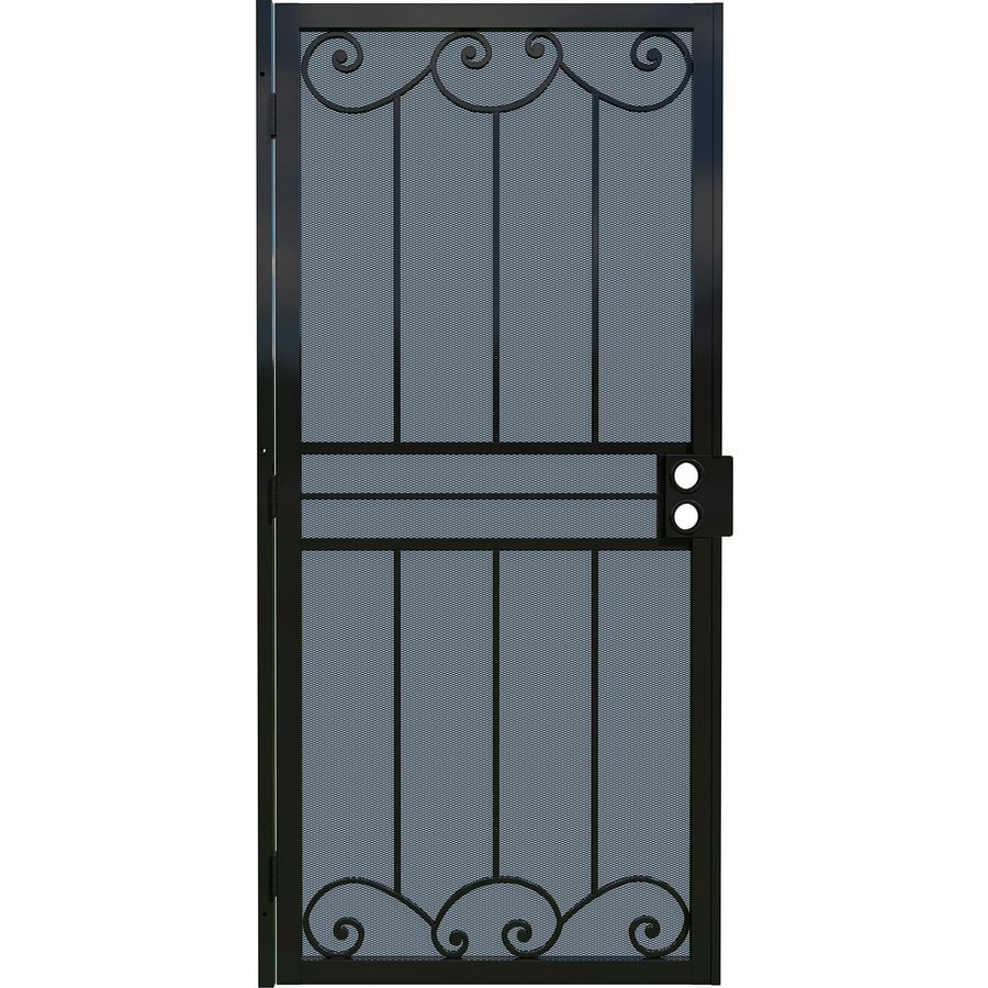 Gatehouse Sonoma Black Steel Surface Mount Single Security Door (Common: 36-in x 80-in; Actual: 39-in x 81.75-in)