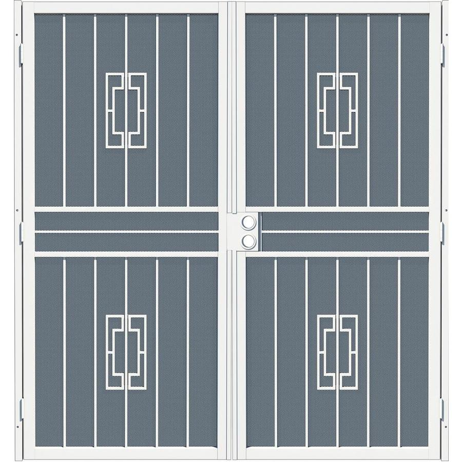 Gatehouse Ventura White Steel Surface Mount Double Security Door (Common: 64-in x 81-in; Actual: 67-in x 81.75-in)