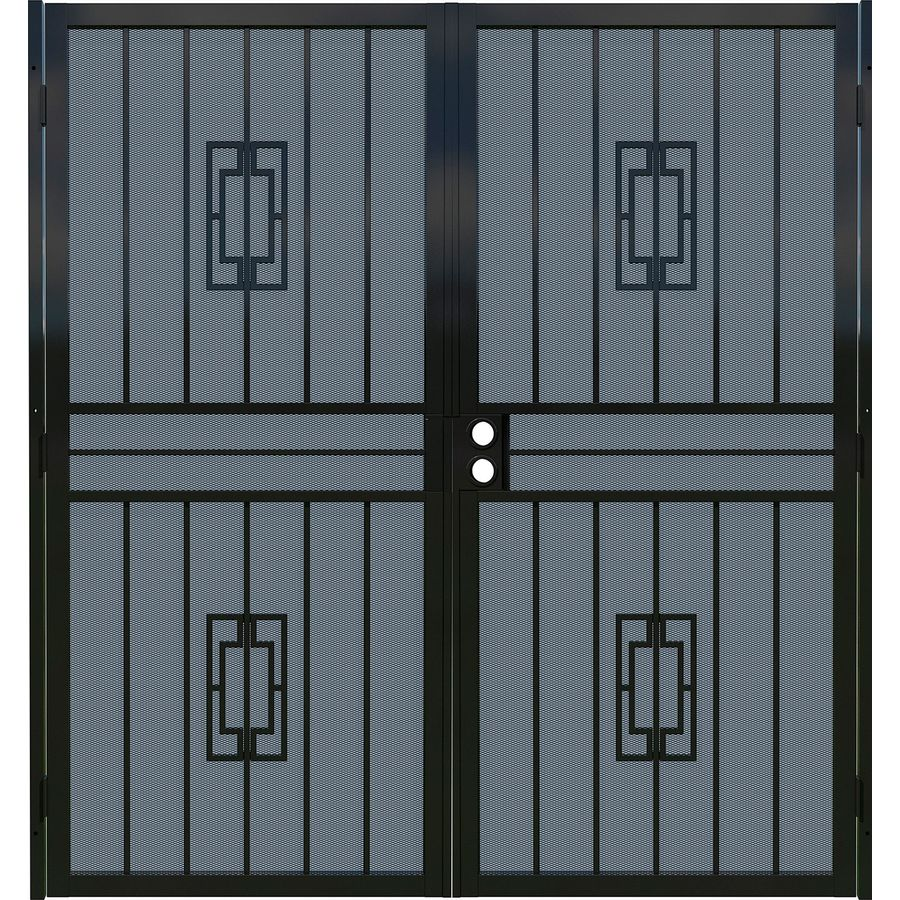 Gatehouse Ventura Black Steel Surface Mount Double Security Door (Common:  72 In X