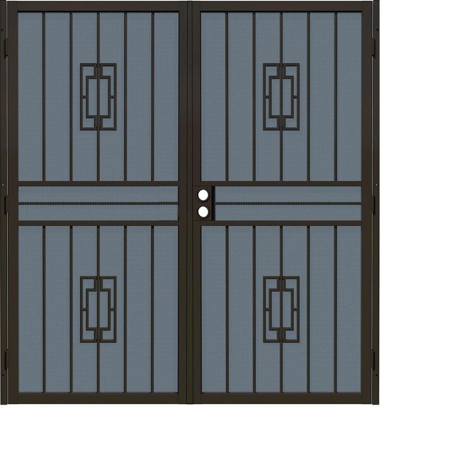 Gatehouse Ventura Bronze Steel Surface Mount Double Security Door (Common: 72-in x 81-in; Actual: 75-in x 81.75-in)