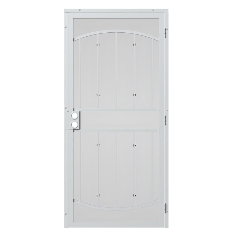 Gatehouse Gibraltar White Steel Security Door (Common: 36-in x 96-in; Actual: 39-in x 97.75-in)