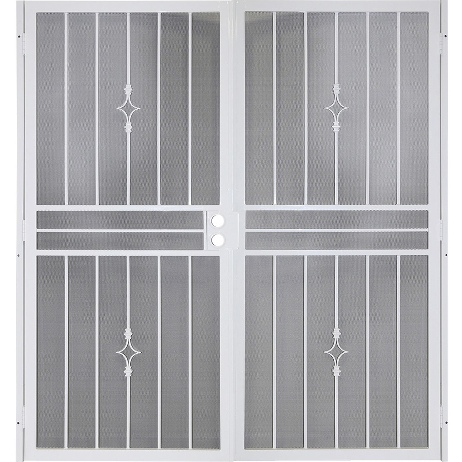 Beau Gatehouse Covington White Steel Surface Mount Double Security Door (Common:  72 In X