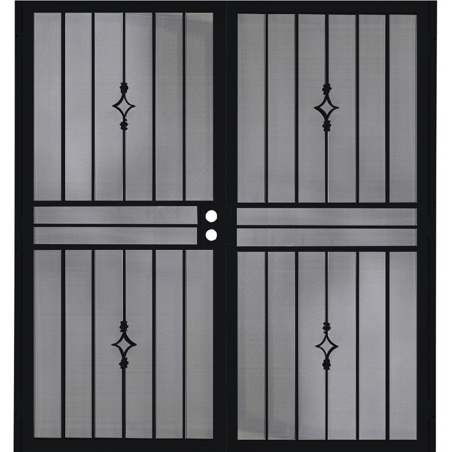 Gatehouse Covington Black Steel Surface Mount Double Security Door (Common: 64-in x 81-in; Actual: 67-in x 81.75-in)