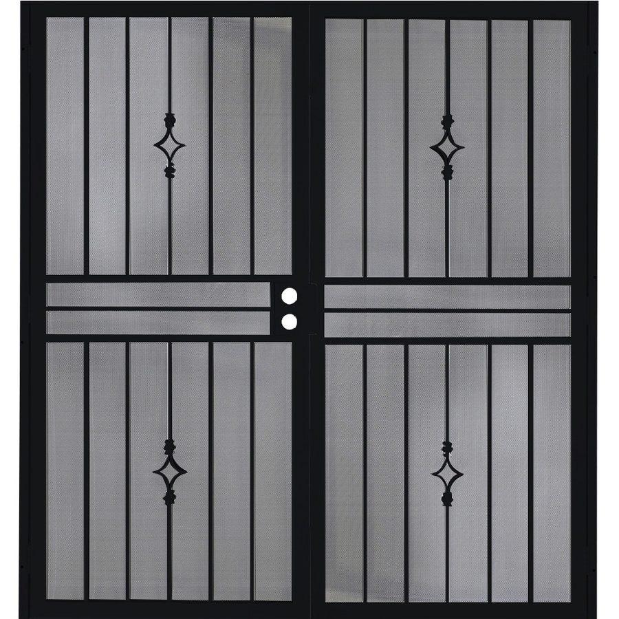 Gatehouse Covington Black Steel Surface Mount Double Security Door (Common: 72-in x 81-in; Actual: 75-in x 81.75-in)