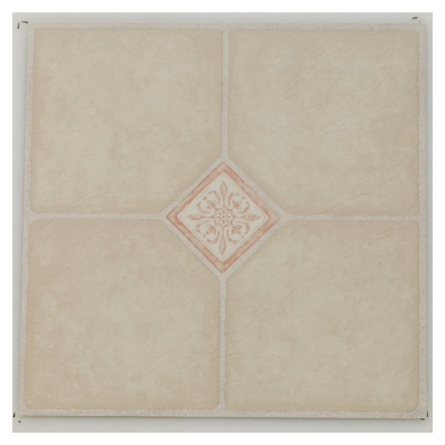 Novalis Home Fashion 1-Piece 12-in x 12-in Ivory Key Peel-And-Stick Pattern Vinyl Tile