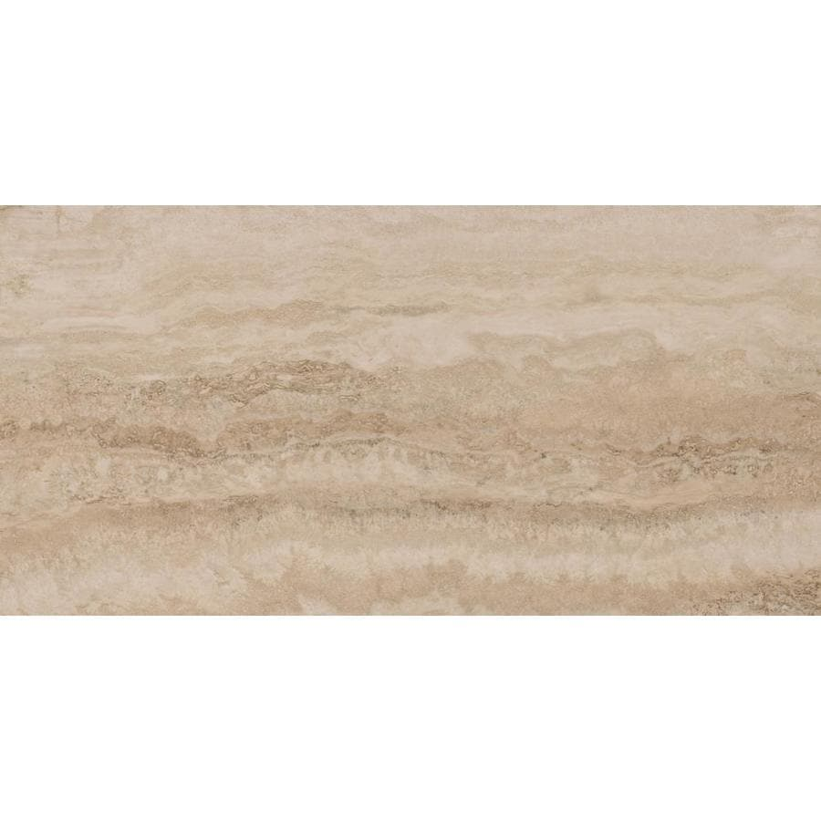 STAINMASTER 12-Piece 12-in X 24-in Groutable Grand Central Glue (Adhesive) Travertine Vinyl Tile