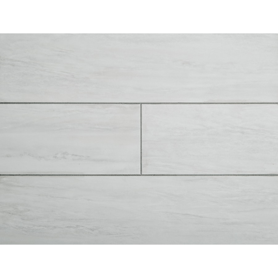 Shop Stainmaster 1 Piece 6 In X 24 In Groutable White Waza Peel And Stick Travertine Vinyl Tile