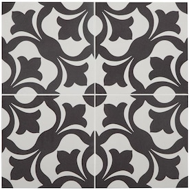 STAINMASTER Florence 1-piece 9-in x 9-in Groutable Black and White Peel and Stick Vinyl Tile