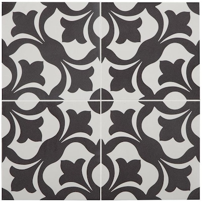 Florence 1 Piece 9 In X Groutable Black And White L Stick Vinyl Tile