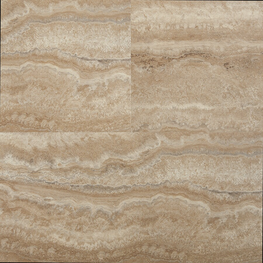 STAINMASTER 1-Piece 12-in x 24-in Groutable Nantucket/Light Brown Peel-And-Stick Stone Luxury Vinyl Tile