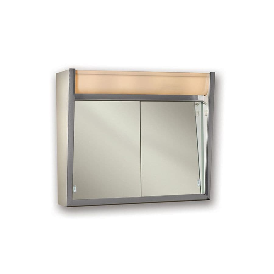 27 5 in rectangle surface mirrored wood medicine cabinet at lowes com - Jensen Ensign 24 In X 23 5 In Rectangle Surface Mirrored Steel Medicine Cabinet With