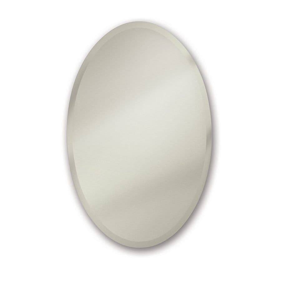 Jensen Cameo 24-in x 36-in Oval Recessed Mirrored Steel Medicine Cabinet