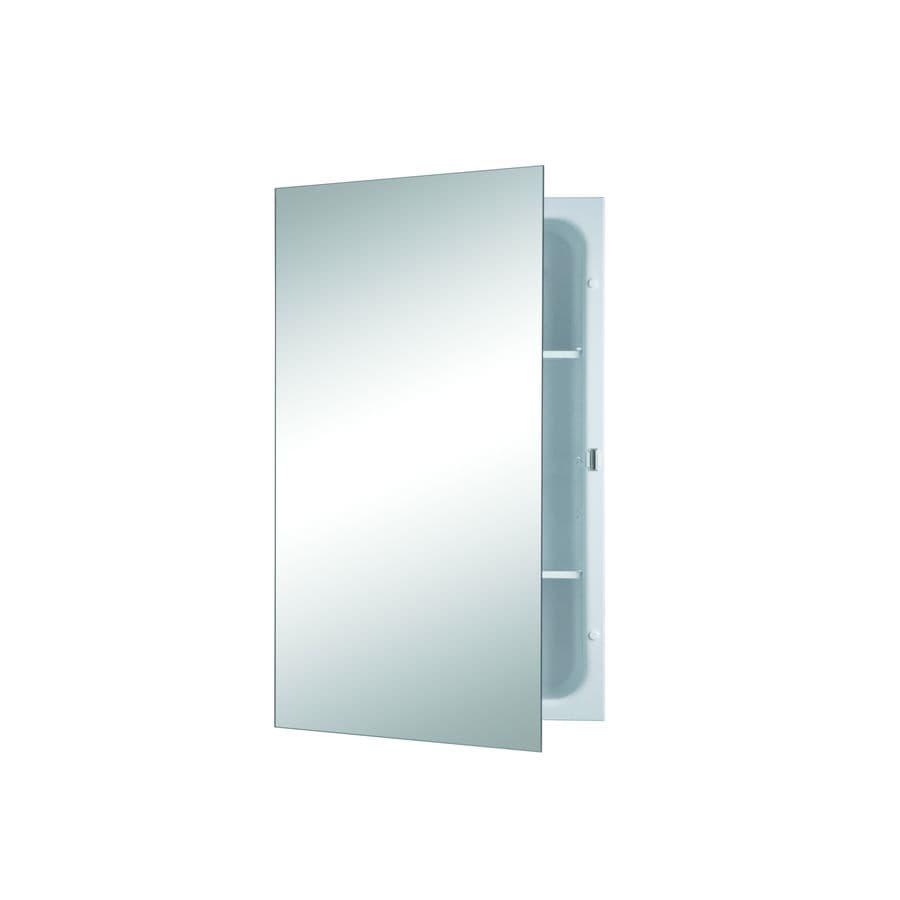 Jensen Focus 16-in x 26-in Rectangle Recessed Mirrored Steel Medicine Cabinet