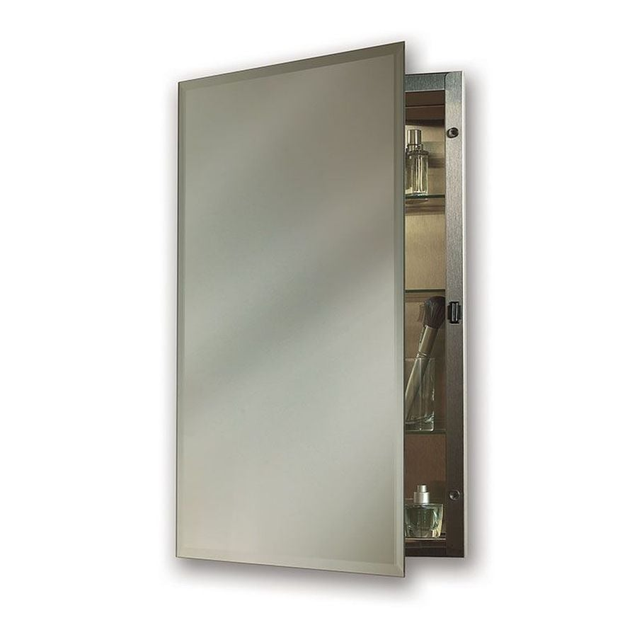 Shop Jensen Galena 16-in x 20-in Rectangle Recessed Mirrored Steel ...