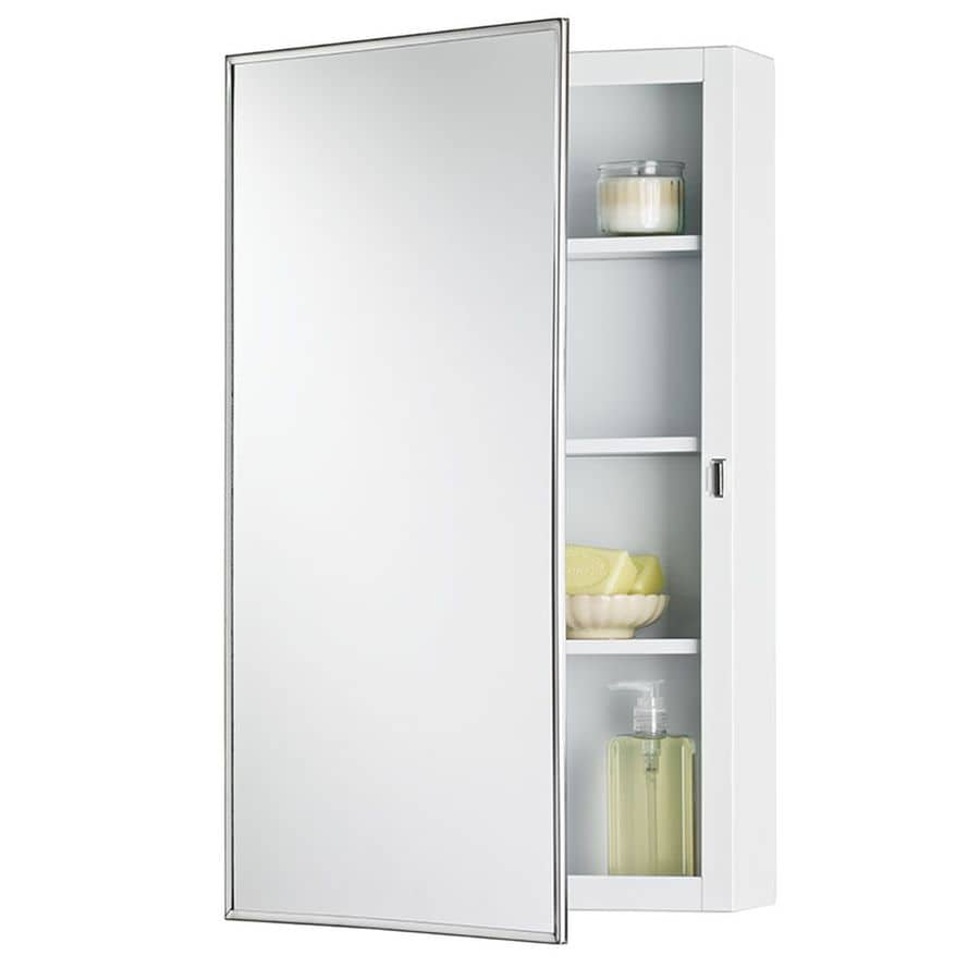 Jensen Topsider 16-in x 26-in Rectangle Surface Mirrored Steel Medicine Cabinet