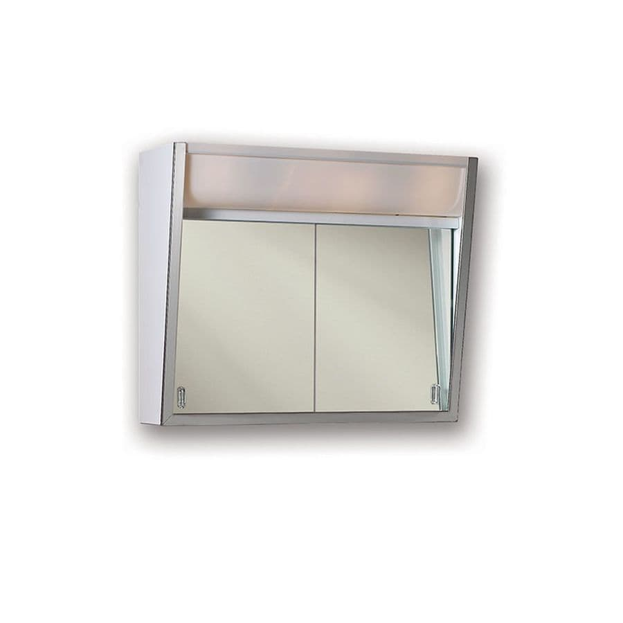 Jensen Flair 28-in x 19.5-in Rectangle Surface Mirrored Steel Medicine Cabinet with Light