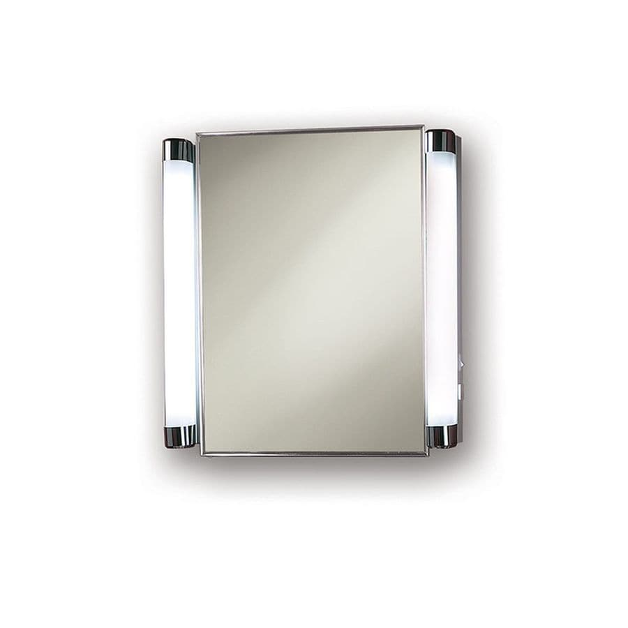 Recessed Bathroom Medicine Cabinets Jensen Lighted 20.375-in x 22.25-in Rectangle Recessed Mirrored Steel Medicine  Cabinet with Outlet and Lights