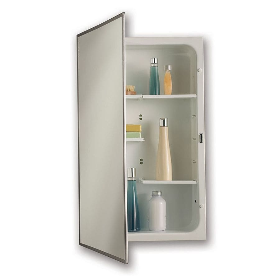 Jensen Modular Shelf 16-in x 26-in Rectangle Recessed Mirrored Steel Medicine Cabinet