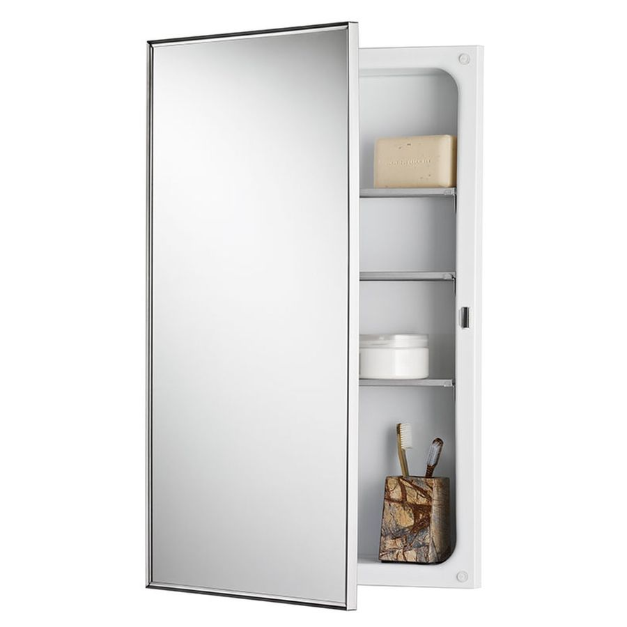 Jensen Styleline 16-in x 26-in Rectangle Recessed Mirrored Steel Medicine Cabinet