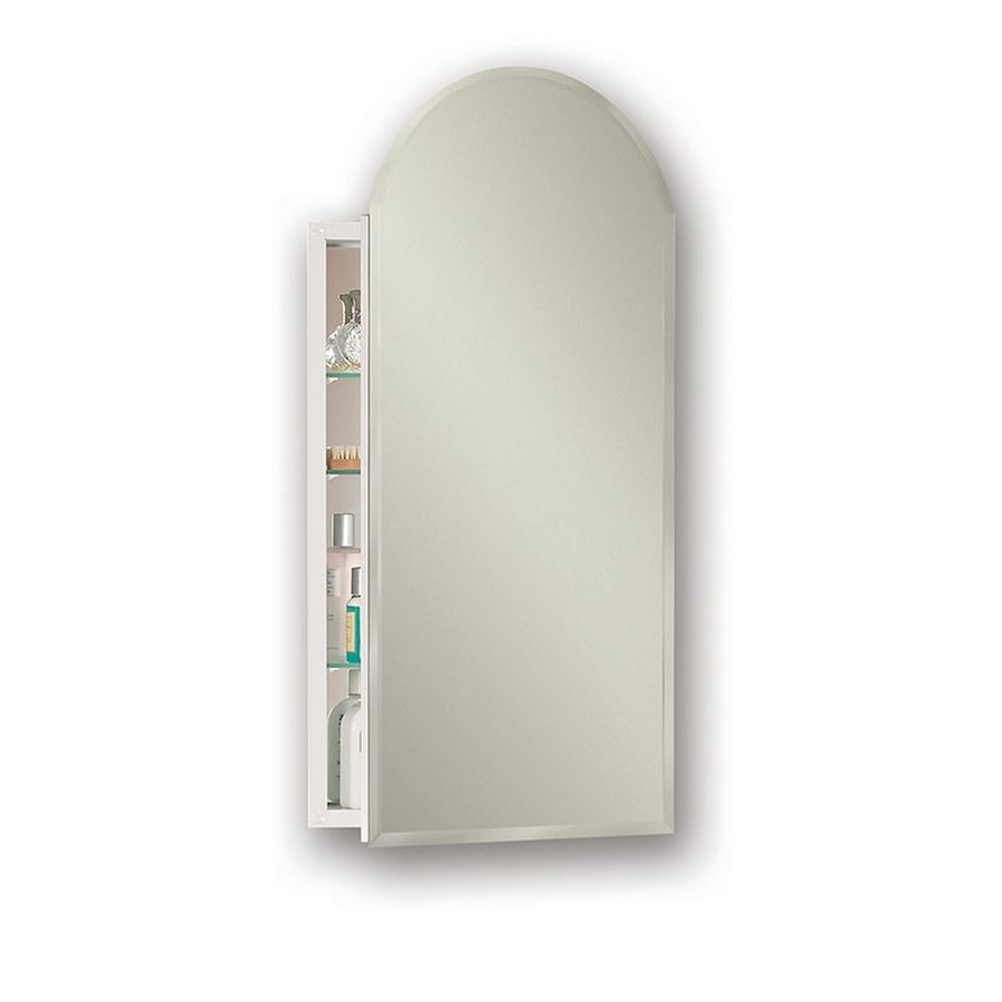 Jensen Metro Arch 15-in x 31.25-in Rectangle Surface/Recessed Mirrored Steel Medicine Cabinet